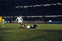 0219212 © Granger - Historical Picture ArchiveSOCCER.   UEFA European Football Championship 1980, Preliminary round, Group 2, match in Brussels: Belgium vs. Scotland 2:0, goal Belgium 1:0 by Frankie Van Der Elst (center), November 21, 1979.
