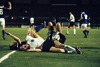 0219219 © Granger - Historical Picture ArchiveSOCCER.   UEFA European Football Championship 1980, Final_tournament in Italy, Group phase, Group 1 in Turin: Greece vs. Fed. Rep. of Germany 0:0, Karl-Heinz Foerster (FRG, in front) and Greek goalkeeper Vasilios Konstandinou hurt, June 17, 1980.