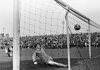 0219482 © Granger - Historical Picture ArchiveSOCCER.   Football Germany, Regionalliga West, 1965/1966, Fuerstenberg Stadium in Gelsenkirchen, STV Horst-Emscher versus Fortuna Duesseldorf 3:7, scene of the match, goal Duesseldorf, Hans Uwe Goebel (STV) is too late, 11.04.1966.