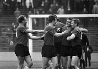0219491 © Granger - Historical Picture ArchiveSOCCER.   Football Germany, Bundesliga, 1965/1966, Wedau Stadium in Duisburg, Meidericher SV versus Hanover 96 2:2, Hanover players rejoicing about a goal f.l.t.r. Hans Siemensmeyer, Bodo Fuchs, Walter Rodekamp, Werner Graeber, 28.05.1966.