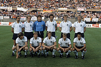 0219541 © Granger - Historical Picture ArchiveSOCCER.   UEFA European Football Championship 1980, Final_tournament in Italy, Group phase, Group 1 in Turin: Greece vs. Fed. Rep. of Germany 0:0, team Germany, back f.l.t.r.: Uli Stielike, Karl-Heinz Rummenigge, Harald 'Toni' Schumacher, Bernhard Cullmann, Hans-Peter Briegel, Horst Hrubesch, front f.l.t.r. Manfred Kaltz, Bernd Foerster, Karl-Heinz Foerst