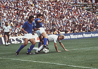 0220169 © Granger - Historical Picture ArchiveSOCCER.   1982 FIFA World Cup in Spain Final in Madrid: Italy 3 - 1 Germany - Scene of the match: Karl-Heinz Rummenigge (right, bottom) in a tackle with Giuseppe Bergomi (Italy) - - 11.07.1982.