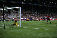 0220268 © Granger - Historical Picture ArchiveSOCCER.   UEFA European Football Championship 1996 in England, quarter-final in London: England vs. Spain 4:2p (0:0 et), penalty shoot-out (PSO), Fernando Hierro (ESP) shoot the ball over the goal, June 22, 1996.