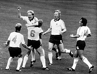 0220303 © Granger - Historical Picture ArchiveSOCCER.   1982 FIFA World Cup in Spain First round, Group 2 in Gijon: Germany 4 - 1 Chile - Scene of the match: Germany players celebrating after a goal. From the left: Karl-Heinz Foerster (No. 4), Wolfgang Dremmler (No. 6), scorer Karl-Heinz Rummenigge, Horst Hrubesch, Felix Magath - - 20.06.1982.
