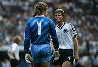 0220415 © Granger - Historical Picture ArchiveSOCCER.   UEFA European Football Championship 1984, Final_tournament in France, Group phase, Group 2 in Strasbourg: Fed. Rep. of Germany vs. Portugal 0:0, scene of the match, goalkeeper Harald 'Toni' Schumacher and Karl-Heinz Foerster (both FRG), June 14, 1984.