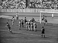 0220521 © Granger - Historical Picture ArchiveSOCCER.   German war championship final in Berlin (olympic stadium) in the presence of 95.000 spectators: Rapid Wien - Schalke 04 (4:3) - The deciding fourth goal for Vienna. A free kick executed by Franz 'Bimbo' Binder (turning off jubilating) 22.June 1941 Fussball Freistosstor Finale.