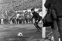 0220571 © Granger - Historical Picture ArchiveSOCCER.   Football Germany, Regionalliga West, 1970/1971, Stadium am Zoo in Wuppertal, Wuppertaler SV versus Fortuna Duesseldorf 1:1, scene of the match, goalkeeper Bernd Franke (Ddorf), 10.01.1971.