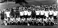 0220685 © Granger - Historical Picture ArchiveSOCCER.   1982 FIFA World Cup in Spain Group photo of the German national team at their training camp in the Black Forest. Front row from left: Stielike, unknown, Karl-Heinz Foerster, Littbarski, Immel, Franke, Matthaeus, Dremmler, Kaltz back row from left: Vogts, Mueller, unknown, Ribbeck, Rummenigge, Reinders, Fischer, coach Jupp Derwall, Briegel, Hrube
