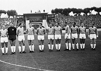 0220881 © Granger - Historical Picture ArchiveSOCCER.   Football Germany, Bundesliga, 1965/1966, Wedau Stadium in Duisburg, Meidericher SV versus TSV 1860 Muenchen 2:3, team photograph, shot of the Munich team f.l.t.r. Peter Grosser, Petar Radenkovic, Otto Luttrop, Hans Reich, Bernd Patzke, Wilfried Kohlars, Rudolf Brunnenmeier, Friedhelm Konietzka, Hans Rebele, Alfred Heiss, Zeljko Perusic, 18.09.19