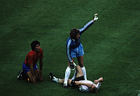 0220936 © Granger - Historical Picture ArchiveSOCCER.   UEFA European Football Championship 1984, Final_tournament in France, Group phase, Group 2 in Paris: Fed. Rep. of Germany vs. Spain 0:1, scene of the match, Bernd Foerster (FRG) injured, German goalkeeper Harald 'Toni' Schumacher (c.) and Francisco Carrasco (ESP, l.), June 20, 1984.