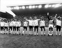0220962 © Granger - Historical Picture ArchiveSOCCER.   1982 FIFA World Cup in Spain Line-up of the Germany team before a first round, Group 2 fixture in Gijon. From left to right: Felix Magath, Pierre Littbarski, Wolfgang Dremmler, Uli Stielike, Paul Breitner, Karl-Heinz Foerster, Horst Hrubesch, Hans Peter Briegel, Manfred Kaltz, Harald Schumacher, Karl-Heinz Rummenigge - June 1982.
