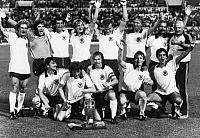 0220969 © Granger - Historical Picture ArchiveSOCCER.   UEFA European Football Championship 1980 in Italy, final in Rome: Belgium - Fed. Rep. of Germany 1:2, European Chamion West Germany, back f.l.t.r. Karl-Heinz Rummenigge, goalkeeper Toni Schumacher, Bernd Cullmann, Bernd Schuster, Hans-Peter Briegel, Horst Hrubesch, Uli Stielike, national team coach Jupp Derwall, front f.l.t.r. Klaus Allofs, Manf