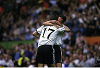 0221105 © Granger - Historical Picture ArchiveSOCCER.   UEFA European Football Championship 1996 in England, group 3 in Manchester: Fed. Rep. of Germany vs. Czech Republic 2:0, scene of the match: goal cheer Germany after 1:0, scorer Christian Ziege (GER, 17) is embraced by Fredi Bobic (GER, back), June 9, 1996.