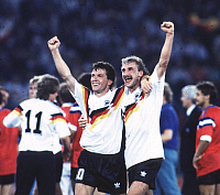 0221192 © Granger - Historical Picture ArchiveSOCCER.   1990 FIFA World Cup in Italy Matthaeus, Lothar *21.03.1961- Football player, midfield, Germany, member of the national team - Matthaeus (left) and teammate Rudi Voeller celebrating after Germany's World Cup victory against Argentina - - 08.07.1990 No-commercial-use!.