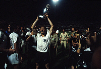 0221264 © Granger - Historical Picture ArchiveSOCCER.   UEFA European Football Championship 1980 in Italy, final in Rome: Belgium - Fed. Rep. of Germany 1:2, European Champion West Germany, Karl-Heinz Foerster with the cup, June 22, 1980.