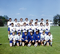 0221277 © Granger - Historical Picture ArchiveSOCCER.   1974 FIFA World Cup in Germany Group photo of the East Germany team at their training camp in Kienbaum, East Germany. Front row, from left: Gerd Kische, Hamann, Wolfgang Blochwitz, Juergen Croy, Friese, Bernd Bransch, Konrad Weise middle row, from left: Peter Ducke, Siegmar Waetzlich, Fritsche, Ruediger Schnuphase, Lothar Kurbjuweit, Juergen Pom