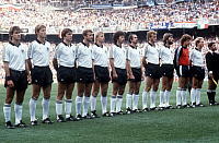 0221278 © Granger - Historical Picture ArchiveSOCCER.   1982 FIFA World Cup in Spain Final in Madrid: Germany 1 - 3 Italy - lineup of the Germany team before the kick-off. From left to right: Pierre Littbarski, Karl-Heinz Foerster, Klaus Fischer, Wolfgang Dremmler, Bernd Foerster, Paul Breitner, Ulrich Stielike, Hans-Peter Briegel, Manfred Kaltz, Harald æToniÆ Schumacher, Karl-Heinz Rummenigge - -