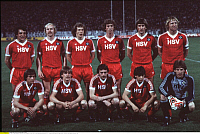 0221339 © Granger - Historical Picture ArchiveSOCCER.   Greece - Athen Athens: Football, European Champions Clubs' Cup, final, Hamburger SV v Juventus Turin 1:0 - Hamburg line-up (each row from left to rigth) - front row: Bernd Wehmeyer, Holger Hieronymus, Juergen Groh, Juergen Milewski and Uli Stein - back row: Felix Magath, Lars Bastrup, Wolfgang Rolff, Ditmar Jakobs, Manfred Kaltz and Horst Hrubes