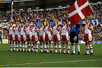 0221536 © Granger - Historical Picture ArchiveSOCCER.   UEFA European Football Championship 1992, final_tournament in Sweden, semi-final in Gothenburg, Niederlande - Denmark 6:7 (4:5 PSO, 2:2), Danish team before the match f.l.t.r. Kim Vilfort, Henrik Larsen, Brian Laudrup, Torben Piechnik, John Sivebaek, John Faxe Jensen, Kim Christofte, Henrik Andersen, Flemming Povlsen, goalkeeper Peter Schmeichel