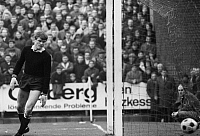 0221579 © Granger - Historical Picture ArchiveSOCCER.   Football Germany, Bundesliga, 1967/1968, Boekelberg Stadium in Moenchengladbach, Borussia Moenchengladbach versus FC Bayern Munich 1:1, scene of the match, Munich goalkeeper Sepp Maier after 1:1 equalizer, 16.03.1968.