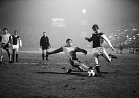 0221645 © Granger - Historical Picture ArchiveSOCCER.   Football Germany, DFB Cup, first round, 1969/1970, Stadium an der Hafenstrasse in Essen, Rot-Weiss Essen versus 1. FC Cologne 3:3 after extra time, scene of the match f.l.t.r. Roland Peitsch (RWE), Wolfgang Overath (Cologne), referee Karl Heinz Fork, Wolfgang Rausch (RWE), Hennes Loehr (Cologne), 24.03.1970.