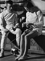 0221773 © Granger - Historical Picture ArchiveSPORTS.   Fencer during a break - Photographer: Max Ehlert - Published by: 'Die Dame' 23/1938 Vintage property of ullstein bild.