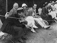 0222183 © Granger - Historical Picture ArchiveSPORTS.   Countess Bernstorff watching a tennis-match in Baden-Baden. Picture taken by A. Frankl 1920.