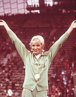 0222244 © Granger - Historical Picture ArchiveSPORTS.   Hildegard Falck - athlete, 800 m, with gold medal, 1972 Summer Olympics, Munich, Germany - 03.09.1972.
