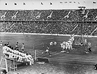 0222256 © Granger - Historical Picture ArchiveSPORTS.   James Cleveland (Jesse) OWENS, (1913-1980), American athlete - 1936 Summer Olympics in Berlin, athletics, 100 meters sprint, 1st heat, Owens wins (world record, 10,2 sec) - August 3, 1936.
