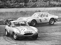 0222264 © Granger - Historical Picture ArchiveSPORTS.   Germany Berlin: Avus: International DMV racing: in front the winner Peter Noecker with Jaguar E, behind the runner up Hermann Cordes with Ferrari - 01.07.1963.