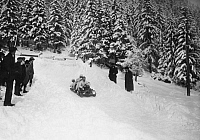 0222439 © Granger - Historical Picture ArchiveSPORTS.   France - Rhone-Alpes Rhone Alpes - Chamonix winter sports in Chamonix: four men on a snowbike in a run - Photographer: M.Rol - 21.01.1913 Vintage property of ullstein bild.