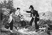 0223244 © Granger - Historical Picture ArchiveWOOD THIEVES, c1830.   A forester catching a poor family stealing firewood. Woodcut, c1830. Full credit: Archiv Gerstenberg - ullstein bild / Granger, NYC -- All rights reserved.