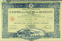 0223393 © Granger - Historical Picture ArchiveFINANCE.   France: stock of the Casino des Fleurs de Beaulieu Sur -Mer, Nice - 01.12.1927.