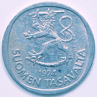 0223455 © Granger - Historical Picture ArchiveFINANCE.   Finland: 1 Mark, Markka coin from 1974, old coin - 19.01.2009.