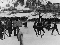 0223653 © Granger - Historical Picture ArchiveDISASTER.   Switzerland, St. Moritzersee, Engadiner Seenplatte, St. Moritz: Winter sports - Fatal crash of a horse in skijoring - 01.02.1933 Vintage property of ullstein bild.
