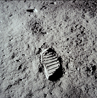 0224711 © Granger - Historical Picture ArchiveTECHNOLOGY.   Spaceflight United States of America, Moon landing of Apollo 11 in 1969: Bootprint of astronaut Edwin ALDRIN in the lunar soil - July 20, 1969.