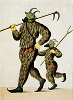0225072 © Granger - Historical Picture ArchiveSCHEMBART CARNIVAL, c1550.   Devil and son costumes from a Schembart manuscript, depicting images from the 'Schembartlauf' carnival processions in Nuremberg, Germany between 1449 and 1539. Illustration, c1550. Full Credit: Ullstein Bild / Granger, NYC. All Rights Reserved.