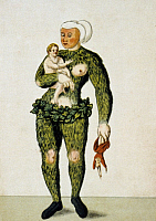 0225259 © Granger - Historical Picture ArchiveSCHEMBART CARNIVAL, c1550.   Wild woman with child costume from a Schembart manuscript, depicting images from the 'Schembartlauf' carnival processions in Nuremberg, Germany between 1449 and 1539. Illustration, c1550. Full Credit: Ullstein Bild / Granger, NYC. All Rights Reserved.