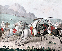 0225283 © Granger - Historical Picture ArchiveCUSTOM.   Maghreb Lithographs / engravings from the 19th century 'Phantasy' - equestrian games between Bedouins and Berbers - colored lithograph - 1835.