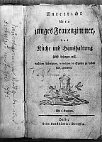 0225449 © Granger - Historical Picture ArchiveCUSTOM.   German Empire Free State Prussia - Saxony province - Stendal: Frontispiece of a cookery book dating from the 18. century - Photographer: Paul Mai - Published by: 'Die Gruene Post' 31/1933 Vintage property of ullstein bild.