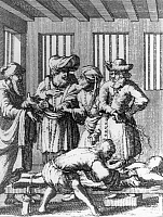 0225466 © Granger - Historical Picture ArchiveCUSTOM.   Jewry Flagellation as confession of sin on the eve of Yom Kippur - contemporary etching - 17th century.
