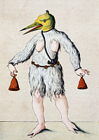 0225526 © Granger - Historical Picture ArchiveSCHEMBART CARNIVAL, c1550.   Bird-head costume from a Schembart manuscript, depicting images from the 'Schembartlauf' carnival processions in Nuremberg, Germany between 1449 and 1539. Illustration, c1550. Full Credit: Ullstein Bild / Granger, NYC. All Rights Reserved.