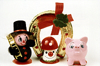 0225566 © Granger - Historical Picture ArchiveCUSTOM.   New Year's Tradition. Lucky charms: Chimney sweeper, horseshoe, lucky mushroom and lucky pig. 1999.