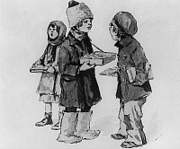 0225912 © Granger - Historical Picture ArchiveTRADE.   Soviet Union Scenes from everyday life Small children hawking - drawing - around 1922.