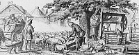 0226817 © Granger - Historical Picture ArchivePEOPLE.   Old Russia Genre pictures Sheep are watered with water from the well - romantic depiction - 19th century.