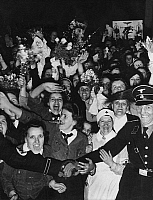 0227480 © Granger - Historical Picture ArchivePEOPLE.   Excited crowd on the Wilhelmplatz in Berlin at the night before Hitler's 50th birthday - Photographer: Heinz Fremke - Published by: 'Berliner Allgemeine Zeitung' 23.04.1939 Vintage property of ullstein bild.
