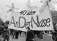 0227531 © Granger - Historical Picture ArchivePEOPLE.   ' German Democratic Republic Bezirk Berlin (Ost-Berlin) East Berlin - Demonstration against the communist regime of the SED, for freedom of press and opinion, free elections and democracy; banner against the ADN news agency - 04.11.1989 '.