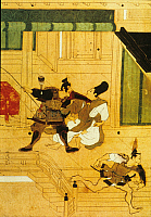 0227642 © Granger - Historical Picture ArchivePEOPLE.   Japan Heiji-incident: supporters of Fujiwara Nobuyori and Minamoto no Yoshitomo (rebels) prevent courtiers from securing the treasure at a raid on the emperor's palace - detail from a Japanese scroll - around 1160.