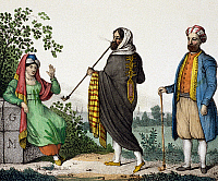 0227654 © Granger - Historical Picture ArchivePEOPLE.   North Africa Lithographs / engravings from the 19th century Marocco: Man and woman from Morocco and a moorish trader (right) - colored lithograph - around 1835.