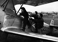 0229165 © Granger - Historical Picture ArchivePEOPLE.   Gerhard Fieseler, aviator, stunt pilot, planes designer, Germany - with his children on his plane Tiger II, 1932.